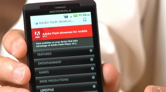 Flash Player 10.1 on Droid X by Motorola