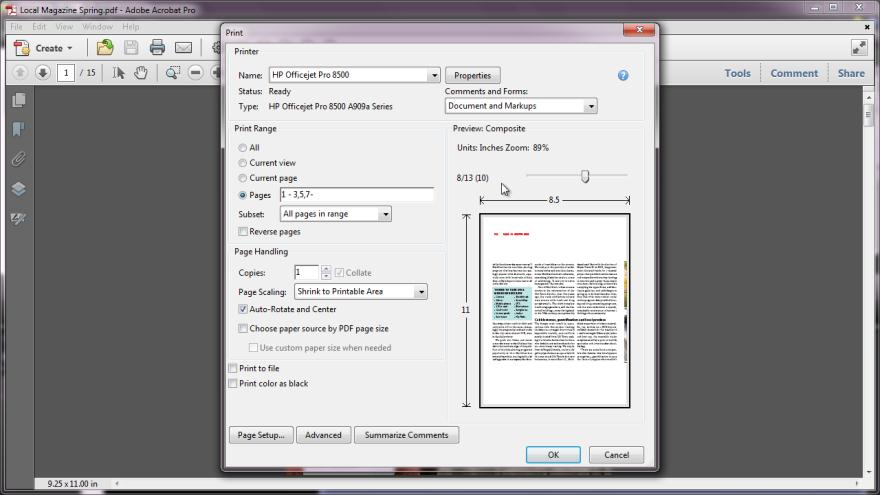 Printing: Range of Pages or Portion
