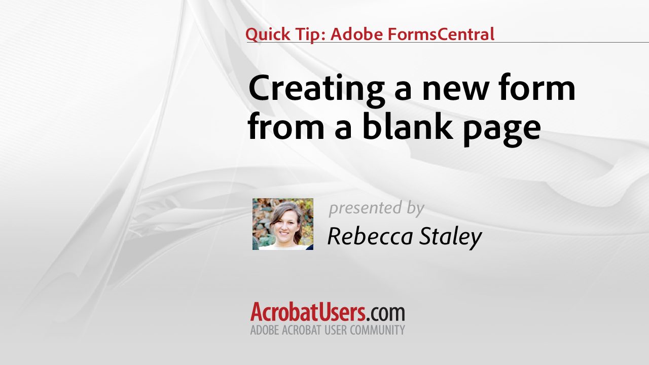 How to create a form from a blank page