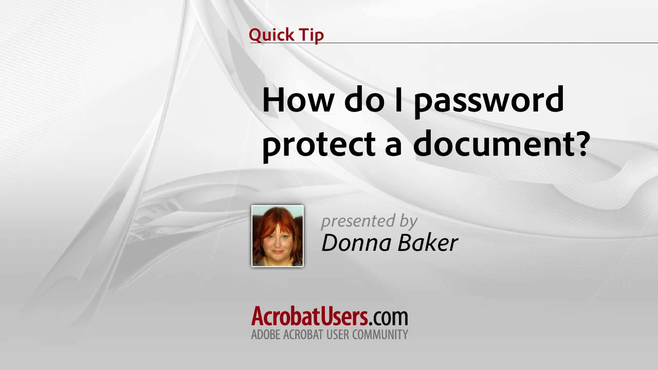 Quick Tip: How do I password protect a document