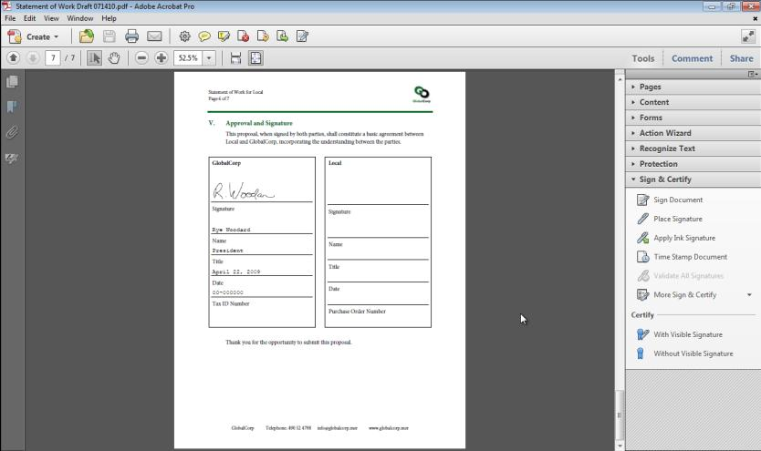 Using Digital Signatures in a PDF File